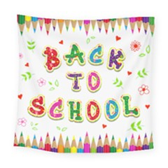 Back To School Square Tapestry (large)