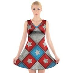 Atar Color V Neck Sleeveless Skater Dress