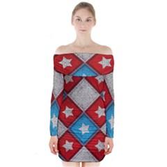 Atar Color Long Sleeve Off Shoulder Dress