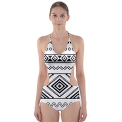 Aztec Pattern Cut Out One Piece Swimsuit