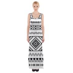 Aztec Pattern Maxi Thigh Split Dress