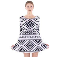 Aztec Pattern Long Sleeve Velvet Skater Dress