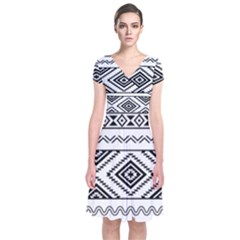 Aztec Pattern Short Sleeve Front Wrap Dress