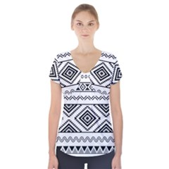 Aztec Pattern Short Sleeve Front Detail Top