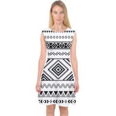Aztec Pattern Capsleeve Midi Dress