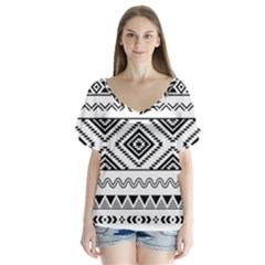 Aztec Pattern Flutter Sleeve Top