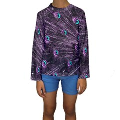 Bird Color Purple Passion Peacock Beautiful Kids  Long Sleeve Swimwear