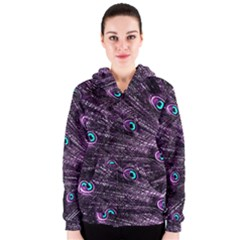 Bird Color Purple Passion Peacock Beautiful Women s Zipper Hoodie
