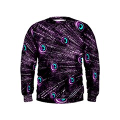 Bird Color Purple Passion Peacock Beautiful Kids  Sweatshirt