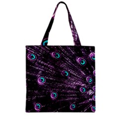 Bird Color Purple Passion Peacock Beautiful Zipper Grocery Tote Bag
