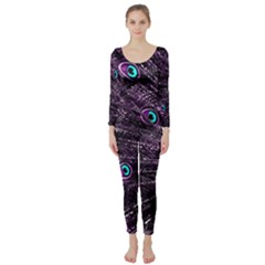 Bird Color Purple Passion Peacock Beautiful Long Sleeve Catsuit