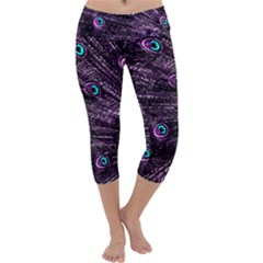 Bird Color Purple Passion Peacock Beautiful Capri Yoga Leggings