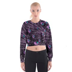 Bird Color Purple Passion Peacock Beautiful Women s Cropped Sweatshirt