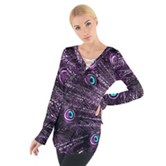 Bird Color Purple Passion Peacock Beautiful Women s Tie Up Tee