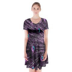 Bird Color Purple Passion Peacock Beautiful Short Sleeve V-neck Flare Dress