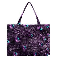 Bird Color Purple Passion Peacock Beautiful Medium Zipper Tote Bag
