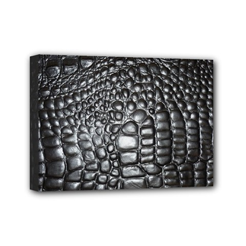 Black Alligator Leather Mini Canvas 7  X 5