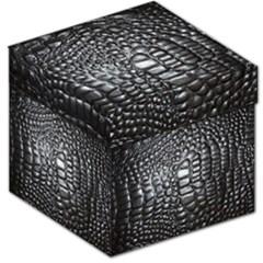 Black Alligator Leather Storage Stool 12