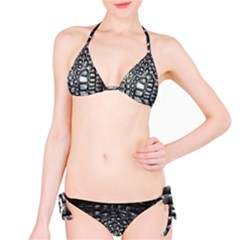 Black Alligator Leather Bikini Set