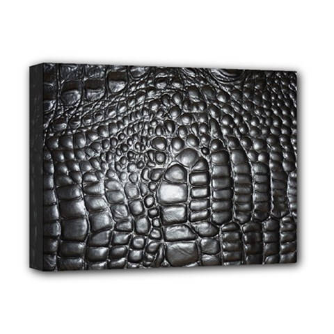 Black Alligator Leather Deluxe Canvas 16  X 12