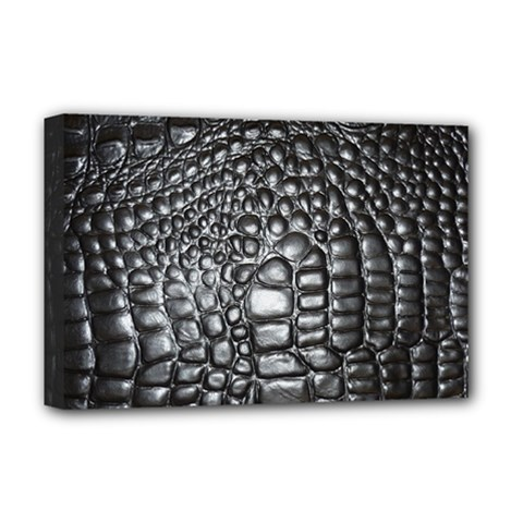 Black Alligator Leather Deluxe Canvas 18  X 12