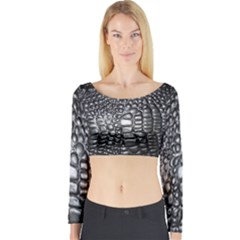 Black Alligator Leather Long Sleeve Crop Top