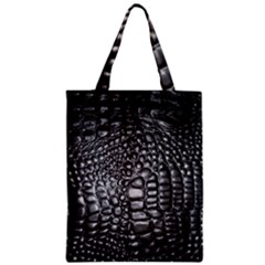 Black Alligator Leather Zipper Classic Tote Bag