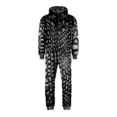 Black Alligator Leather Hooded Jumpsuit (kids)