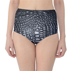 Black Alligator Leather High Waist Bikini Bottoms