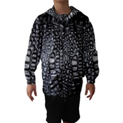 Black Alligator Leather Hooded Wind Breaker (Kids)