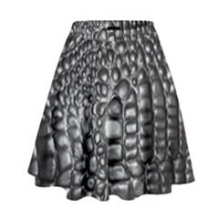 Black Alligator Leather High Waist Skirt