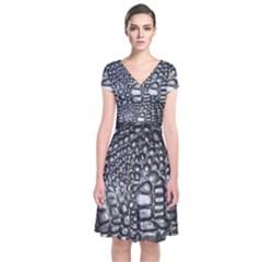 Black Alligator Leather Short Sleeve Front Wrap Dress