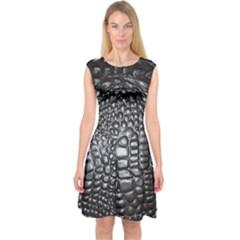 Black Alligator Leather Capsleeve Midi Dress