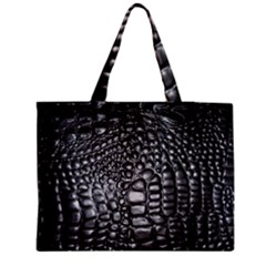 Black Alligator Leather Medium Zipper Tote Bag