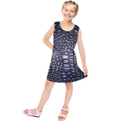 Black Alligator Leather Kids  Tunic Dress