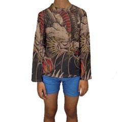 Chinese Dragon Kids  Long Sleeve Swimwear