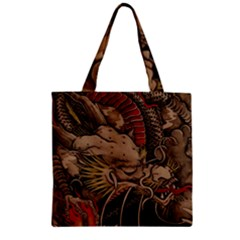 Chinese Dragon Zipper Grocery Tote Bag