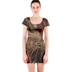 Chinese Dragon Short Sleeve Bodycon Dress