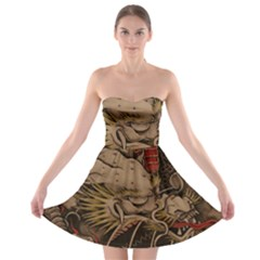 Chinese Dragon Strapless Bra Top Dress