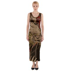 Chinese Dragon Fitted Maxi Dress