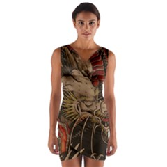 Chinese Dragon Wrap Front Bodycon Dress