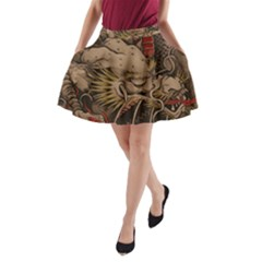 Chinese Dragon A Line Pocket Skirt