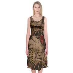 Chinese Dragon Midi Sleeveless Dress