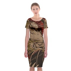 Chinese Dragon Classic Short Sleeve Midi Dress