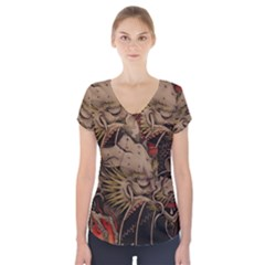 Chinese Dragon Short Sleeve Front Detail Top