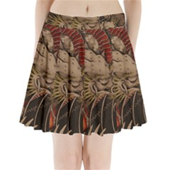 Chinese Dragon Pleated Mini Skirt