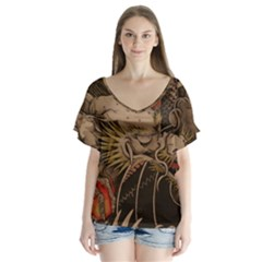 Chinese Dragon Flutter Sleeve Top