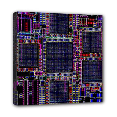Technology Circuit Board Layout Pattern Mini Canvas 8  X 8