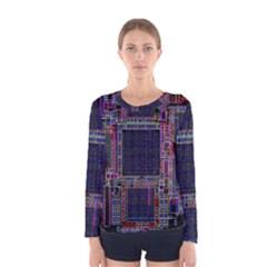 Technology Circuit Board Layout Pattern Women s Long Sleeve Tee