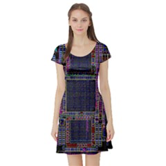 Technology Circuit Board Layout Pattern Short Sleeve Skater Dress